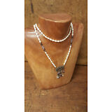 Vintage Sterling Silver Freshwater Pearl Crystal Garnet Amethyst Necklace SANDRA