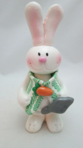 """Easter Resin 4 1/8"""" Tall Dressed White Bunny Rabbit with Carrot"""