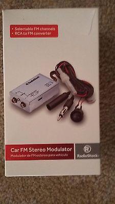 Car FM Stereo Modulator Auxillary Wired Audio Input Adapter Antenna--Radio Shack