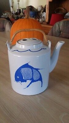 VTG Japanese Extra Large Tea Kettle / Teapot w/ Lid, Blue & White With Koi Fish