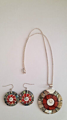 Lee Sands Abalone/Coral/Shell Sterling Silver Necklace/Earrings