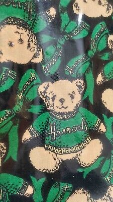 Harrods Famous Teddy Bear Bag. Classic. Green. Fun. Exciting. Free Shipping.