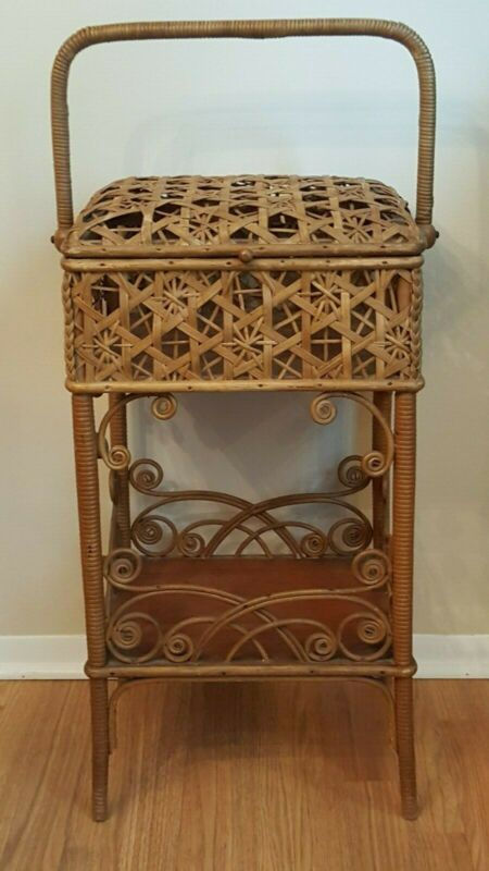 Antique Heywood Brothers Wakefield Rattan Cane and Wood Sewing Stand Basket Mass