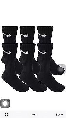 NIKE 6 PAIR NEW SOCKS BLACK CREW MEN'S SIZE 8-12 L/G PERFORMANCE CUSHIONED