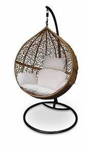 Outdoor Hanging Egg/ Pod Chair - Natural Basket with Beige Tullamarine Hume Area Preview