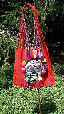 Halloween Dia De Los Muertos Mexican Hand Embroidered Tote Bag Rainbow E38 14x16