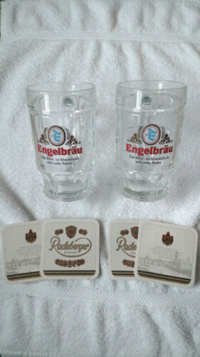 ENGELBRAU RETTENBERG GERMAN BEER MUGS SET OF 2 NEW IN BOX w/ COASTERS