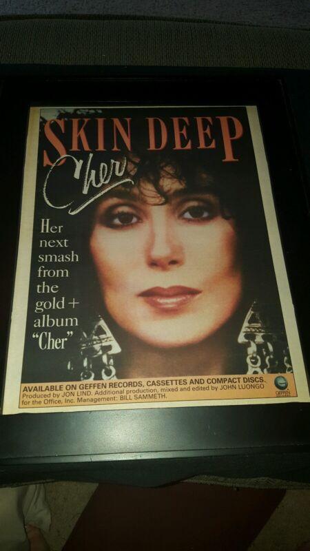 Cher Skin Deep Rare Original Radio Promo Poster Ad Framed!