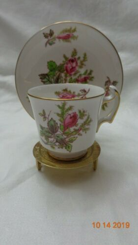 Royal Chelsea English Bone China Tea Cup Pattern is MOSS ROSE red roses gold rim