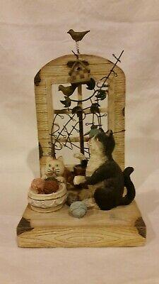 Cat themed decorative home decor figurine, shelf display or wall hanging