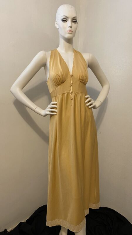 Vintage 70's Vanity Fair Nylon Nightgown Gold Yellow Rare 34