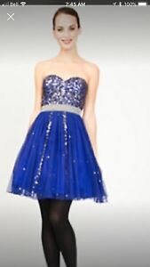 STUNNING GRAD OR PROM DRESS BLUE AND SILVER SIZE XS OR 0