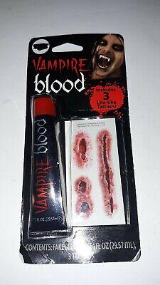 Halloween Vampire Blood Tattoos Makeup Kit Costume Theater Face Paint - Vampire Faces Halloween Paint