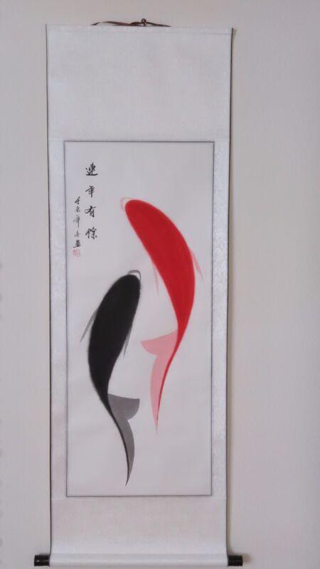 Chinese Scroll Painting Prosperity Fish 鱼 Surplus Every Year WallArt USA seller*