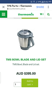 Thermomix tm5 bowl and blade set Everton Park Brisbane North West Preview