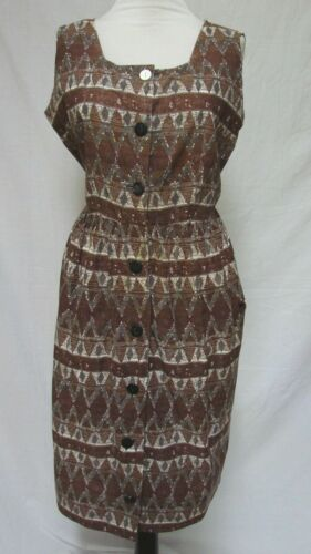 1950s 60s VINTAGE PLUS SIZE COTTON PRINT SUNDRESS DRESS