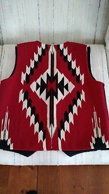 Centinela Arts, western style, mens lined wool Vest size 40, Chimayo, New Mexico