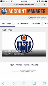 Oilers tickets. New Years Eve