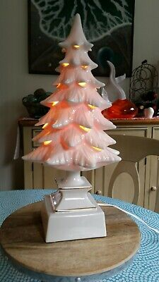 VINTAGE BEAUTIFUL WHITE LIGHT-UP CERAMIC CHRISTMAS TREE, 17.5 INCH TALL, LOOK!!