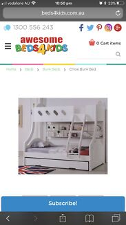 Double bunk bed with trundle