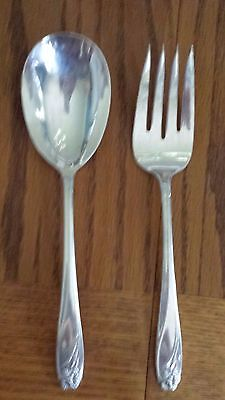 1847 ROGERS BROS IS Silver plate Daffodil Serving Set Casserole Spoon Meat Fork  1847 Silverplate