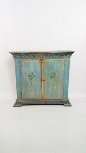 RARE 18th Century French Chateau Hand Painted Blind Cupboard Primitive Chic