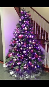CHRISTMAS TREE, 3 SETS OF LIGHTS AND MANY ORNAMENTS