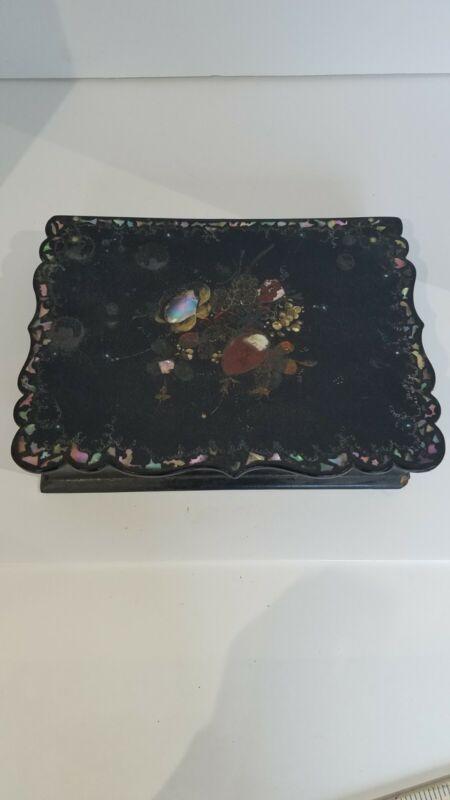 Victorian Paper Mache Inlaid MOP Painted Lap Desk