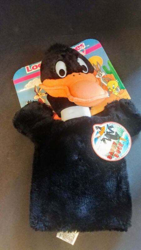 Free Shipping-Daffy Duck Plush Hand Puppet Vintage New w/tags.  1990