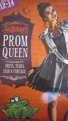 Halloween Prom Queen Fancy Dress With Dress, Tiara, Corsage Size 12-14 Adult