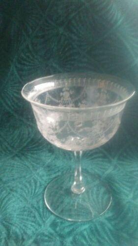 ANTIQUE ETCHED WINE GLASSES (10)