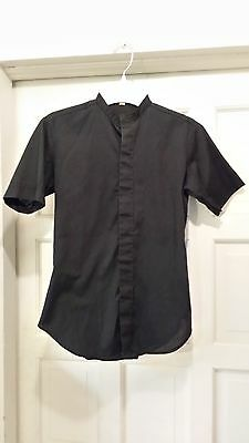 CLERGY NECKBAND BLACK SHIRT LADIES SZ 7/8 SS CM ALMY & SON 65/35 POLY COTTON