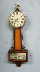 Antique Sessions Mini Banjo Clock - Great Wood Finish - Nice Glass Panel - 20
