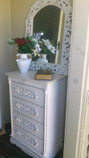 REDUCED French style Shabby chic tall boy and mirror  tall boy