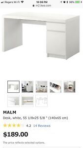 White IKEA Malm Desk - Already Assembled $120 or best offer