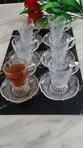 12pc Designer Glass Turkish Arabic Tea Coffee Serving Set Cups Saucers Set of 6