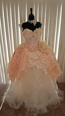 Blush Champagne Ivory Corset Embroidered Lace Tulle Organza Wedding Ball Gown
