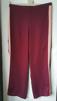 """Ladies H&M wide leg joggers trouser size 14  31"""" leg burgandy nude red stripe for sale  Shipping to Ireland"""