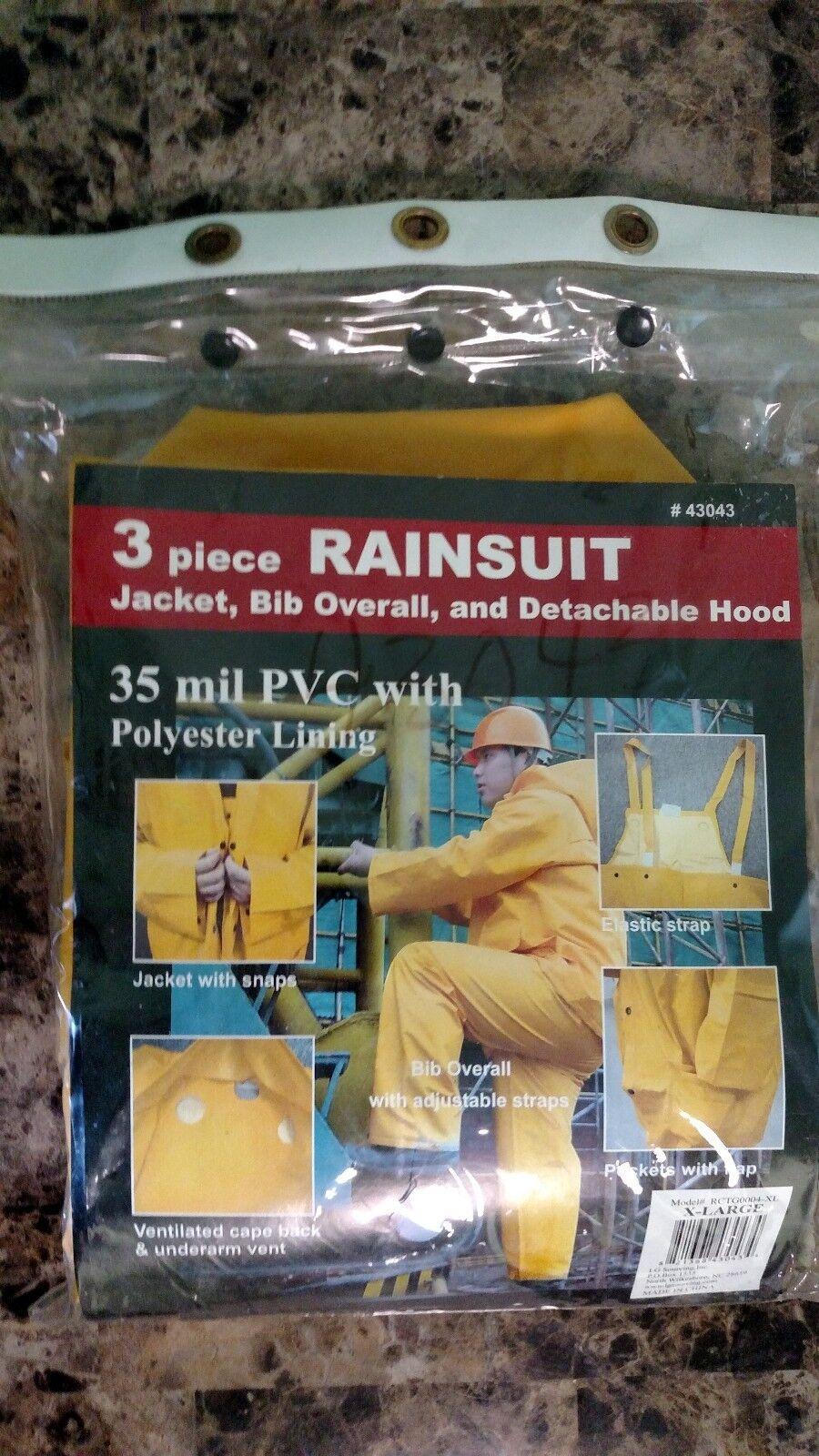 NEW 3 PIECE RAINSUIT Jacket, Bib Overall Hood 35 Mil PVC, Polyester Lining-XL - $7.00