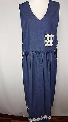 NWT J.G.Hook Size 16 Modest Blue Denim Dress Floral Accents