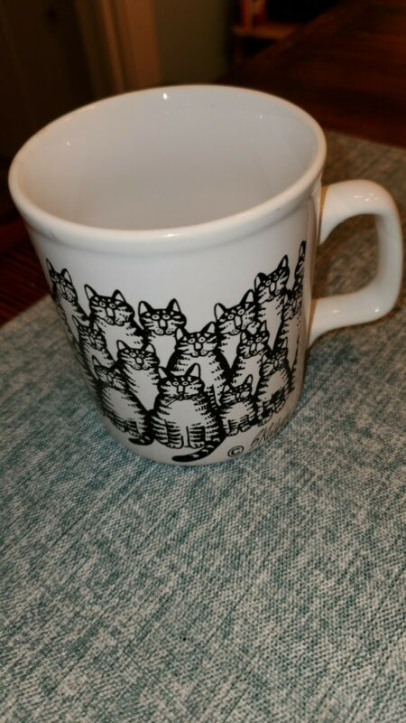 B Kliban Coffee Cup Mug Black Cats White Cup Cat Lover Kiln Craft