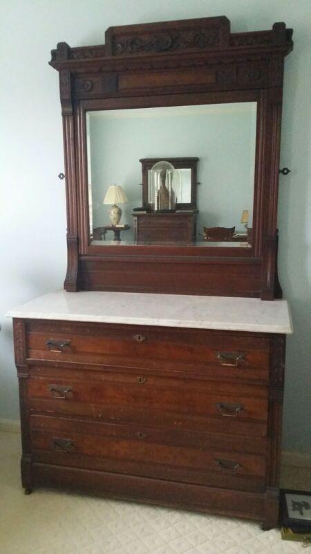 19th Century Eastlake Walnut Marble Top 3 Drawer Dresser With Mirror
