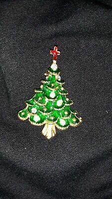 Christmas Pin Vintage Christmas Tree Green/Red Enamel Cross  Rhinestones In...