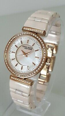 Anne Klein 12/2274RGPK Women's 30mm Crystal Accent MOP Dial Watch  *SHIPS FREE*
