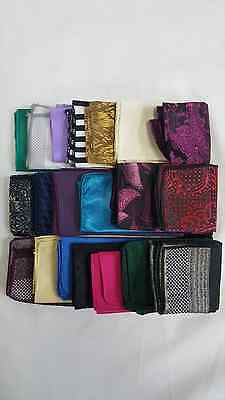 20 Mens Bulk Lot Pocket Square Used Handkerchief Theater Cheap Formal Deal Sale