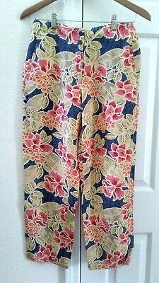 Talbots Petites Linen Blend Capri Pants Tropical Floral Women's Size 4P Small