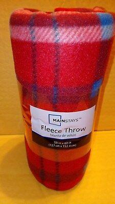 Red Tartan color fleece throw blanket 50 x 60 Mainstay