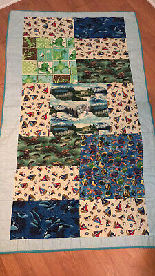 Vintage Handmade CHILDS TWIN SIZE BLANKET QUILT FISHING BOATS OUTDOOR LAKE 43X73
