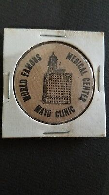 Vintage Wooden Nickel Mayo Clinic Medical Center Rochester Minnesota 1962   o