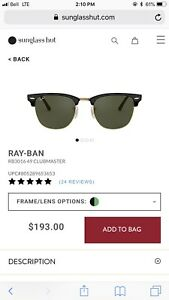 RAY-BAN clubmaster sunglasses AUTHENTIC **** JUST DROPPED PRICE